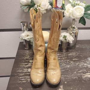 Tony Lama Tan Leather Cowboy Boots Sz 7